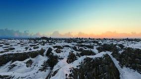 Βουνά χιονιού σούρουπου και σαφής μπλε ουρανός, εναέριος πυροβολισμός διανυσματική απεικόνιση