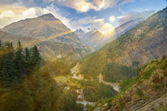 Βουνά Annapurna στα Ιμαλάια του Νεπάλ Στοκ εικόνα με δικαίωμα ελεύθερης χρήσης