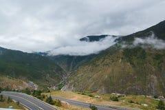Βουνοπλαγιά που βρίσκεται στο σύννεφο με τα αειθαλή κωνοφόρα που τυλίγονται στην υδρονέφωση κατά μια φυσική άποψη τοπίων Στοκ φωτογραφίες με δικαίωμα ελεύθερης χρήσης