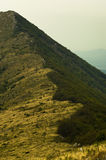 Βουνοπλαγιά με την πορεία οδοιπορίας στην αιχμή Trem στο βουνό Suva Planina Στοκ Εικόνα