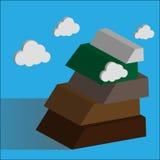 Βουνό Έννοια επιτυχίας που υπερνικά τις δυσκολίες διανυσματική απεικόνιση
