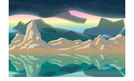 Βουνό και αυγή διανυσματική απεικόνιση