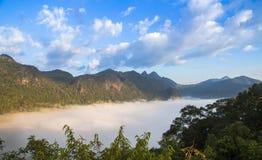 Βουνό και ομίχλη το πρωί σε Doi Angkhang, Chiangmai Thail Στοκ Εικόνες