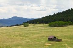 βουνό λιβαδιών κούτσουρων καμπινών παλαιό Στοκ Εικόνες