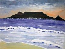 βουνό πέρα από τον πίνακα θύελλας Στοκ Εικόνες