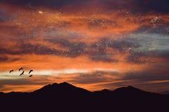 βουνό πέρα από το ηλιοβασί&lamb Στοκ Εικόνες