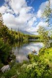 Βουνό πανοράματος, λίμνη Strbske Pleso στα βουνά Tatra Θερινά χρώματα Στοκ φωτογραφία με δικαίωμα ελεύθερης χρήσης