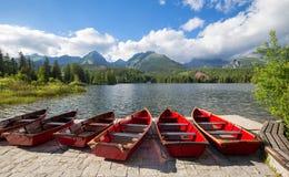 Βουνό πανοράματος, λίμνη Strbske Pleso στα βουνά Tatra Θερινά χρώματα Στοκ φωτογραφίες με δικαίωμα ελεύθερης χρήσης