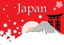 Βουνό της Ιαπωνίας Φούτζι με το λουλούδι sakura Στοκ Εικόνα