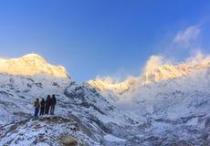 Βουνό του Ιμαλαίαυ Annapurna στην ανατολή, Νεπάλ Στοκ Εικόνα