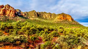 Βουνό του Lee και άλλα κόκκινα βουνά βράχου που περιβάλλουν την πόλη Sedona στη βόρεια Αριζόνα στοκ φωτογραφίες με δικαίωμα ελεύθερης χρήσης