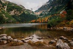 Βουνό φθινοπώρου και λίμνη pleso Popradske σε υψηλό Tatras, Σλοβακία στοκ εικόνες