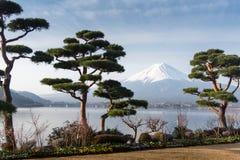 Βουνό Φούτζι fujisan από τη λίμνη Kawaguchigo με τον κήπο στο foreg Στοκ Φωτογραφίες