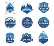 Βουνό, φύση, μπλε, τοπίο, eco, λογότυπο Στοκ Εικόνες