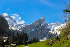 Βουνό Alpstein σε Appenzell, Ελβετία Στοκ Εικόνα