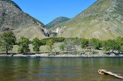 Βουνό Altai Πέρασμα του ποταμού Chulyshman με τη βάρκα μηχανών στοκ εικόνα