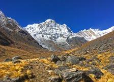 Βουνό Annapurna και στρατόπεδο βάσεων Annapurna Στοκ Εικόνα