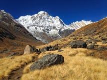 Βουνό Annapurna και στρατόπεδο βάσεων Annapurna Στοκ Εικόνες