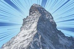 Βουνό Matterhorn, zermatt με το ζωηρό ουρανό Στοκ Εικόνες