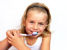 βουρτσίζοντας δόντια Στοκ Φωτογραφία