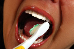 βουρτσίζοντας δόντια Στοκ φωτογραφίες με δικαίωμα ελεύθερης χρήσης