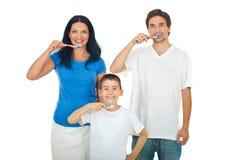 βουρτσίζοντας οικογε& στοκ φωτογραφίες