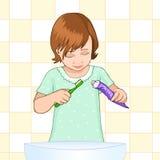βουρτσίζοντας το κορίτσι αυτή μικρά δόντια δόντια φροντίδας Παιδικές υγείες Στοκ Εικόνες