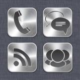 Βουρτσισμένα app μετάλλων πρότυπα εικονιδίων Στοκ Φωτογραφία