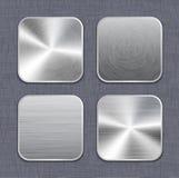Βουρτσισμένα app μετάλλων πρότυπα 2 εικονιδίων Στοκ εικόνα με δικαίωμα ελεύθερης χρήσης