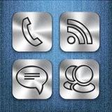 Βουρτσισμένα app μετάλλων πρότυπα 3 εικονιδίων Στοκ φωτογραφία με δικαίωμα ελεύθερης χρήσης