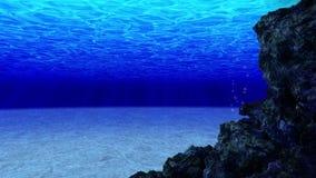 Βουτήξτε στον ωκεανό Υποβρύχιες ακτίνες ήλιων άποψης και αεροφυσαλίδες στη βαθιά μπλε θάλασσα r o απεικόνιση αποθεμάτων