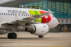 ΒΟΥΔΑΠΕΣΤΗ, ΟΥΓΓΑΡΙΑ - 5 Μαρτίου - πτήση TAP Πορτογαλία Στοκ Εικόνες