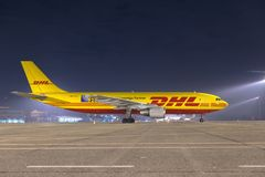 ΒΟΥΔΑΠΕΣΤΗ, ΟΥΓΓΑΡΙΑ - 5 Μαρτίου - airbus DHL A300 Στοκ φωτογραφία με δικαίωμα ελεύθερης χρήσης