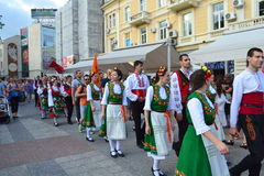 Βουλγαρική ομάδα λαογραφίας στην παρέλαση, Plovdiv Στοκ φωτογραφίες με δικαίωμα ελεύθερης χρήσης
