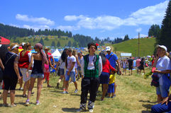 Βουλγαρικοί εθνικοί δίκαιοι συμμετέχοντες, βουνά Rhodope Στοκ Εικόνες