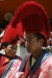 Βουδισμός, κοστούμια, κόκκινο, φεστιβάλ, παράδοση, πορτρέτο, Ladakh, ναοί, μοναχοί, Στοκ Εικόνα