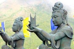 Βουδιστικά αγάλματα Po Lin στο μοναστήρι, Χονγκ Κονγκ, Κίνα Στοκ Εικόνα