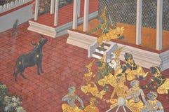 Βουδιστικές τοιχογραφίες στο μεγάλο παλάτι στην Ταϊλάνδη Στοκ Εικόνες