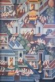 Βουδιστικές τοιχογραφίες wat po Μπανγκόκ τοίχων Στοκ Φωτογραφία