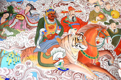Βουδιστική τέχνη στους τοίχους Στοκ Φωτογραφίες