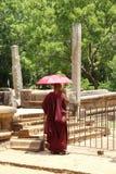 Βουδιστικός μοναχός με το πορφυρό ύφασμα Στοκ Εικόνες