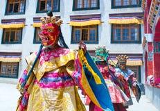 Βουδιστικό μυστήριο χορού Cham μοναχών σε Lamayuru, Ινδία Στοκ εικόνες με δικαίωμα ελεύθερης χρήσης