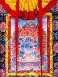 Βουδιστικό thangka, θιβετιανή βουδιστική ζωγραφική στο βαμβάκι, ή μετάξι α Στοκ εικόνες με δικαίωμα ελεύθερης χρήσης