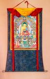 Βουδιστικό thangka, θιβετιανή βουδιστική ζωγραφική στο κλωστοϋφαντουργικό προϊόν Στοκ εικόνες με δικαίωμα ελεύθερης χρήσης