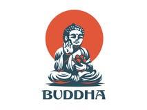 Βούδας απομονωμένο eps διανυσματικό λευκό 8 εμβλημάτων απεικόνιση αποθεμάτων