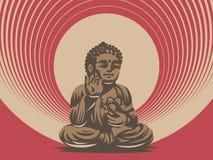 Βούδας απομονωμένο eps διανυσματικό λευκό 8 εμβλημάτων ελεύθερη απεικόνιση δικαιώματος