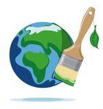 Βούρτσα και πλανήτης Γη χρωμάτων Στοκ εικόνα με δικαίωμα ελεύθερης χρήσης