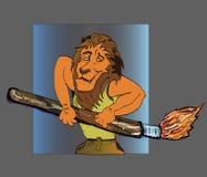 Βούρτσα κινούμενων σχεδίων καλλιτεχνών λιονταριών που σύρει το ανθρώπινο αθλητικό σώμα Στοκ εικόνα με δικαίωμα ελεύθερης χρήσης