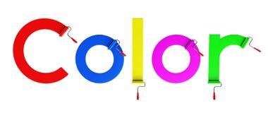 Βούρτσα κυλίνδρων και χρώμα λέξης, τρισδιάστατο Στοκ Φωτογραφίες