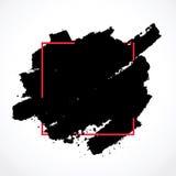 Βούρτσα μελανιού κηλίδων στο πλαίσιο κόκκινων τετραγώνων Στοκ φωτογραφίες με δικαίωμα ελεύθερης χρήσης